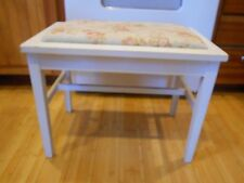 Vintage Shabby Country Chic Vanity BENCH Distressed White Cabbage Rose #6333