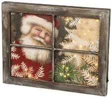 "NEW!~LED Wood Light Up Sign~""SANTA IN THE WINDOW"" Christmas Picture~Tree"