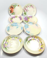 """Hutschenreuther Bavaria 8 Hand Painted Floral Snack Plates, 6"""""""
