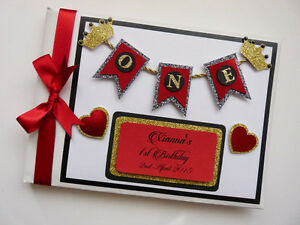 Personalised Princess / Gold crowns / girls birthday guest book, red and gold