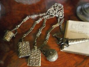 Victorian chatelaine , belt clip and tools.