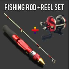2 Sections Ice Fishing Rod and Reel Set Winter 50cm Mini Ice Fishing Pole Wheel