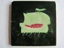 ANTIQUE ART NOUVEAU MOULDED STYLISED LONG SHIP TILE - T & R BOOTE  C1906/7