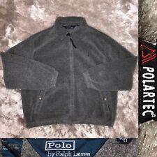 Vintage 1990's POLO Ralph Lauren POLARTEC Gray Fleece Harrington Jacket XL EUC