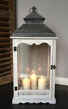 XXL Holz Laterne Windlicht Metalldach weiß / grau gewischt 78 cm Landhaus Shabby