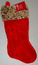 "Red Christmas Stocking w/Faux Leopard Fur Trim NEW w/Tag 17""L"