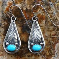 Navajo Sterling Silver and Turquoise Teardrop Dangle Earrings Signed AL 6 Grams