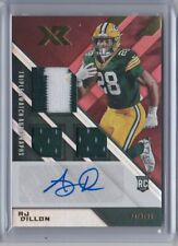 2020 Panini XR Rookie Swatch Red AJ DILLON triple autograph auto jersey patch 75