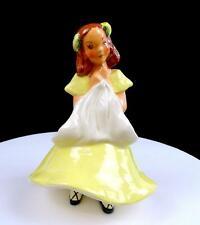 "JESSIE GRIMES CALIFORNIA POTTERY 653 GIRL IN YELLOW DRESS 7 1/4"" FLOWER HOLDER"