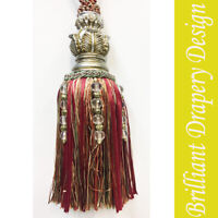 A Single  tie back with Carved-Double Tassel Maroon color  multi color string