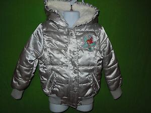 Disney girl size XS  4 years long sleeve gray silver jacket hood faux fur