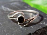 Zierlicher 925 Sterling Silber Ring Schwarz Email Emaille Signiert Meisterpunze