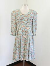 Vtg Leslie Fay Blue / Green Floral Printed Tea Shirt Dress Size 14 Bow