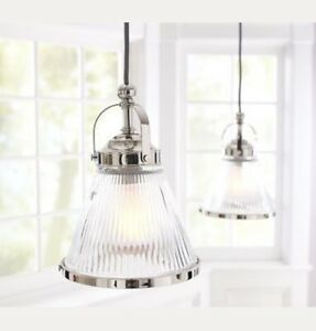 """New Pottery Barn Industrial Ribbed Morton Glass Pendant Large 14"""" Chrome Nickel"""