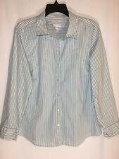 Womens J Jill Blue/White Striped Long Sleeve Shirt Size L Perfect Shirt Button