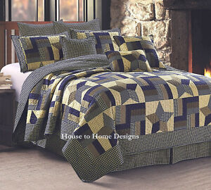 WOODLAND STAR BLUE BROWN 3pc King QUILT SET : 5 POINT FARMHOUSE COUNTRY PLAID