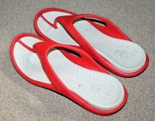 MENS CROCS TOE POST SANDALS FLIP FLOPS BEACH UK 10 US 11 RED WHITE