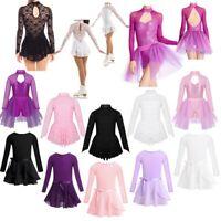 Kids Girls Long Sleeve Gymnastics Costume Ballet Dance Sport Leotard Tutu Dress