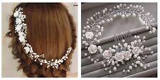 Bridesmaids Bridal White Rose Vintage Style Pearl Crystal Hair Comb Vine Tiara