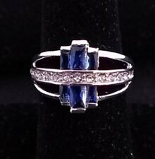 14K White Gold Filled Sapphire RING SIZE 8 ****Ships FREE to USA**** #R222