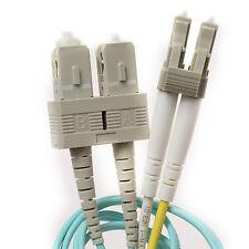3 Meter/9.9 Feet Duplex Multimode LC to SC Fiber Patch Cable - OM3 10GB Aqua