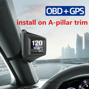 HUD Head OBD2+GPS Display Alarm RPM Oil & Water Temp Speedometer Trim Brake Test