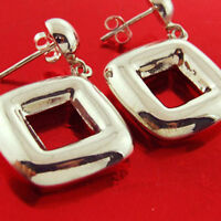 3XOL107 GENUINE HALLMARKED REAL 925 STERLING SILVER STUD SQUARE EARRINGS