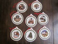 Set of 8 Porcelain Ornaments A Christmas Story by Susan Winget round decor tree
