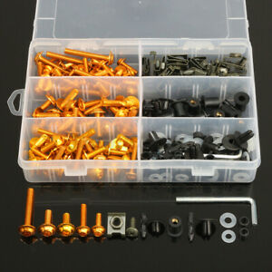 223x Motorcycle Aluminum Fairing Bolts Kit Body Fasteners Clip Screws Gold