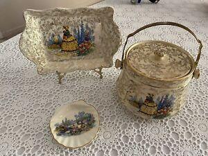 Rare Large Sadler Biscuit Barrel Crinoline Lady Plate Pin Dish 💝