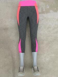 Athleta Skinny Yoga Workout Crop Capri Leggings Sz S Gray Coral Pink
