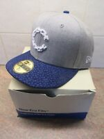 CROOKS & CASTLES OG FITTED NEW ERA 7 1/ 2 Grey and Blue LOGO