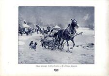 Der polnische Maler Alfred von Wierusz-Kowalski Schlittenfahrt Kunstdruck 1908