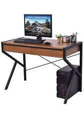 Simple Modern Wood Computer Writing Desk Home Office Study Table w/ 2 Drawers