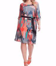 Jete Stretch Jersey Mod Printed Belted Shift Dress Size 2X (18W-20W)