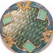 Art Deco Brass Button Green Enamel Geometric Self Shank #60