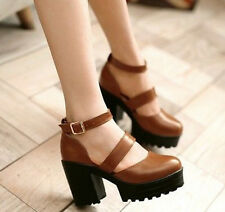 Women Mary Janes Gothic Chunky Holow Buckle Platform Faux Leather Lolita Shoes
