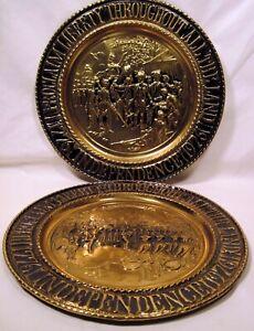 "2 Vintage 14.25"" Decorative BRASS WALL PLATES Colonial BICENTENNIAL England"