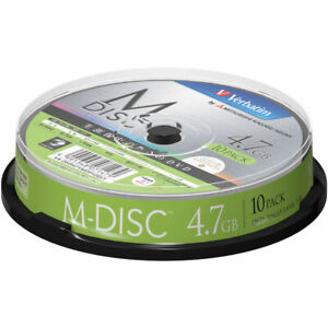 DHR47YMDP10SV1 Verbatim DVD Single Layer 1-4X 10 Packs 4.7 GB M-DISC Printable
