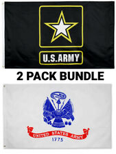 New listing 2x3Ft Army Flag Bundle Set of Star Coat of Arms Usa Veteran Military Wholesale