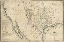 Map of Texas and counties c1844 repro 36x24