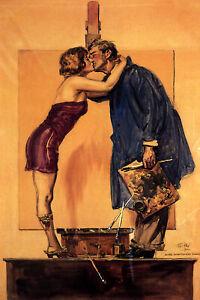 Artist Model Kissing Painter Ink Palette Brushes Vintage Poster Repro FREE S/H