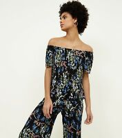 New Look Black Floral Plisse Bardot Neck Top  (039)