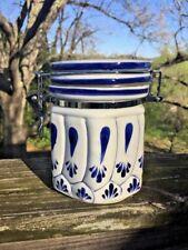 Antique Primitive BLUE WILLOW DESIGN Pottery Canister Locking Vintage 5/4 ❤️