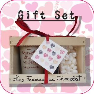 """Happy Valentine's Day"" Chocolate Fondue + Mini Marshmallow Gift Set - 8 Designs"