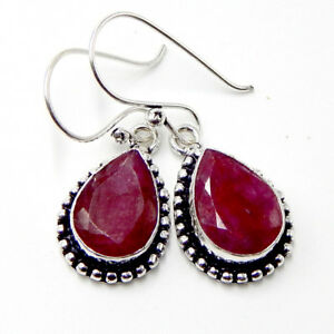 Kashmir Ruby 925 Sterling Silver Plated Jewellery chandelier Earrings  7 Gm