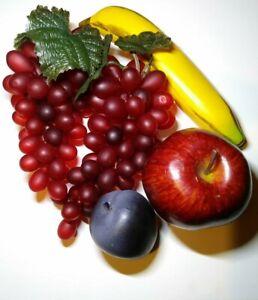 Faux Fake Vintage Fruit Rubber Grapes Bananna Plumb Foam Apple Realistic Decor