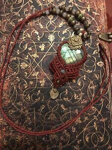 Macrame boho labradorite necklace stone