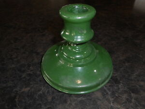 Green Glass Candlestick holder Vintage Flea Market Farmhouse Decorating