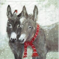 4x PAPER NAPKINS for Decoupage PIPS AND GREY CHRISTMAS DONKEYS
